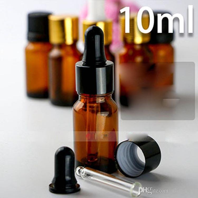 Free DHL Amber 10ml Glass Dropper E-Liquid Bottles For E-Cigarette Ejuice With Tips and 5 Dropper or Screw Tamper Caps For Choose