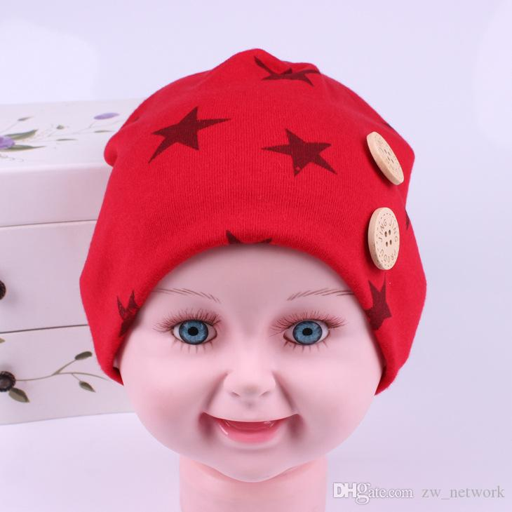 New 0-3 old kids hat star pringtings fashion children knitted caps lovely colored Spring Fall Baby knitted hats comfortable warm caps