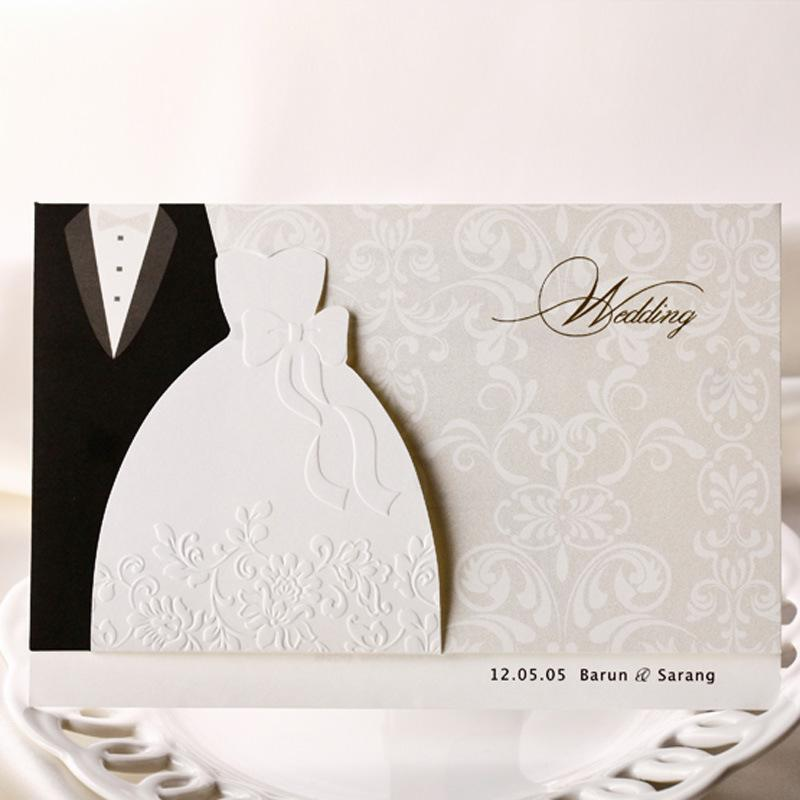 funny wedding invitations black suits white evening dress style bridal shower invitations foil stamping uneven 250g wedding card bh2046