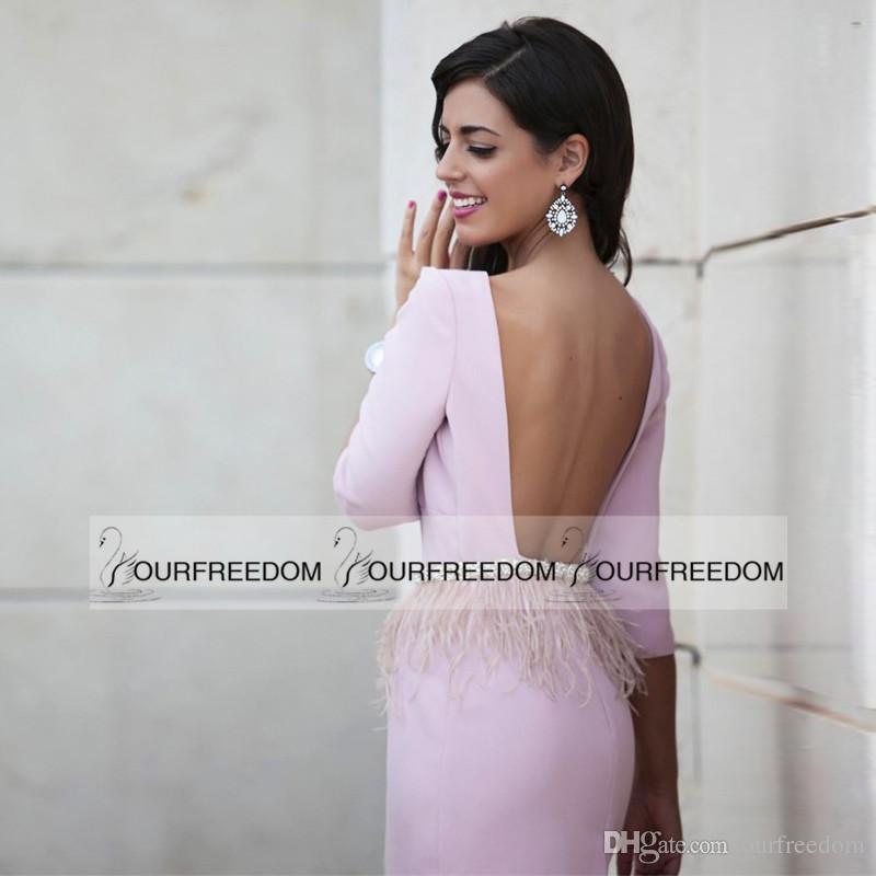 2019 robes de bal courtes roses décolleté rond perles avec taille plumes robes de cocktail sexy dos ouvert manches trois quart robes de soirée
