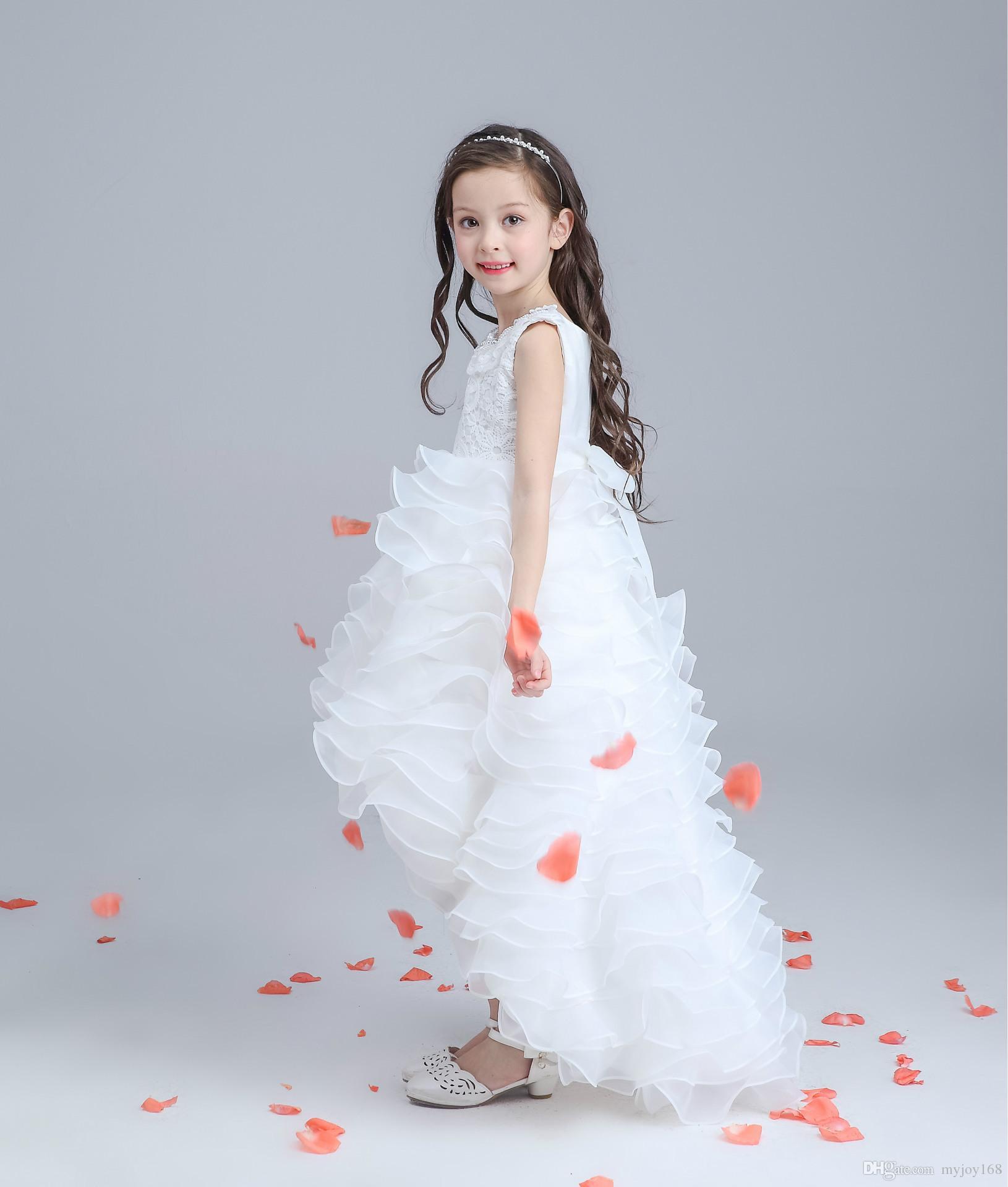 Retail 2016 New Flower Girl Dresses Pearl Belt White Flower Girl ...