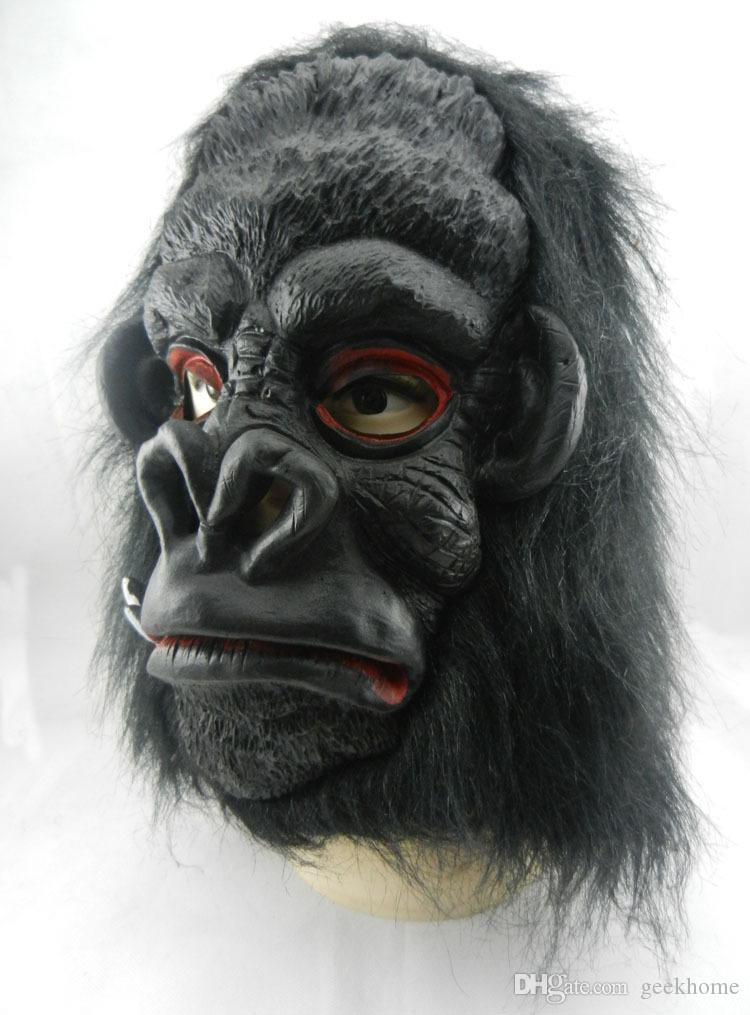 Máscara de horror do dia das bruxas máscaras de rosto preto Adulto cabeça cheia vivas máscara facial Animal látex adereços festa de Halloween animal silicone Horror Assustador