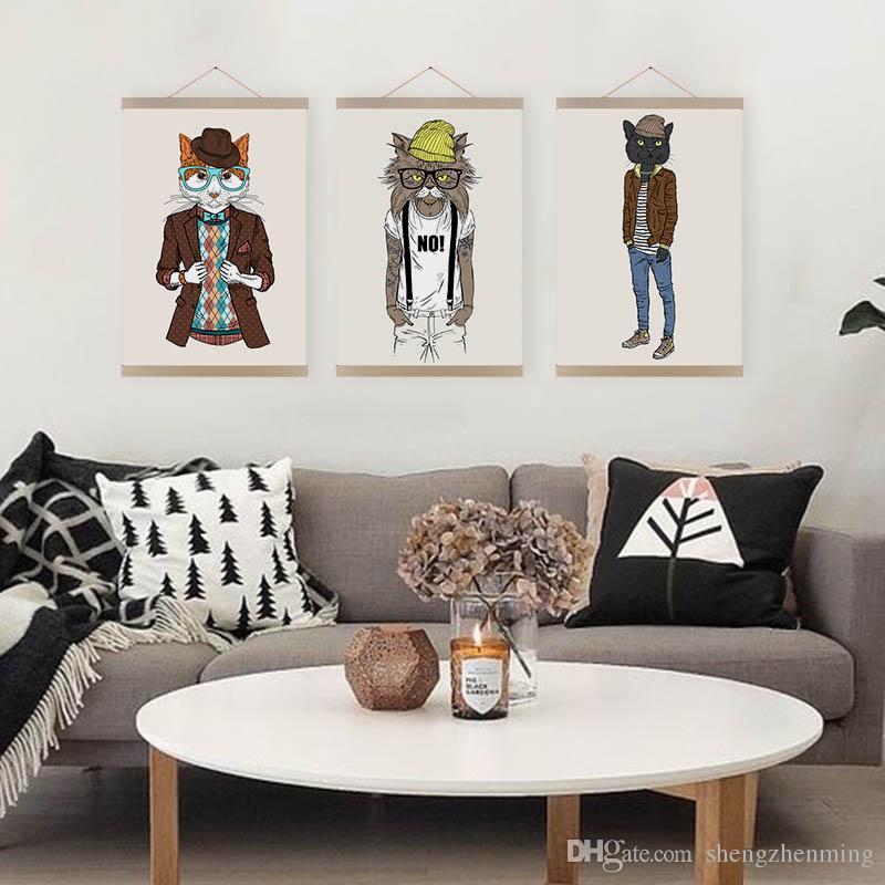 Fantastisch Großhandel Moderne Hippie Hipster Wohnzimmer Kinderzimmer Wandkunst  Original Mode Tier Katzen A4 A3 Große Poster Leinwand Malerei Geschenke Von  ...