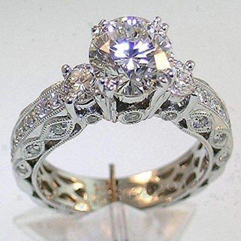 Виктория Wieck три камня старинные ювелирные изделия 10kt белого золота заполнены Топаз имитация Алмаз свадьба Engagemet кольца для женщин подарок размер 5-11