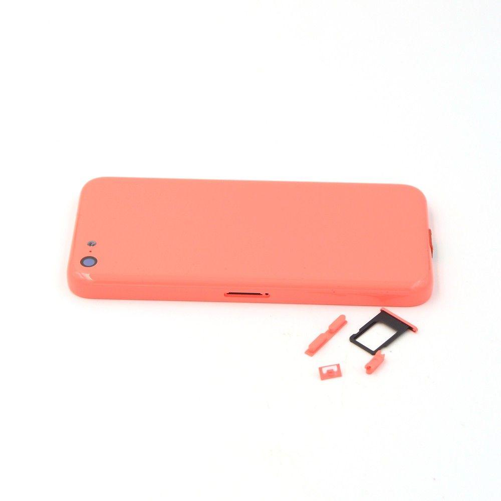Orijinal logo + DHL ile iPhone 5C için yan Düğmeler + Sim Tepsi ile tamamlayın Tam Set Geri Konut Pil Kapı Kapağı Orta Çerçeve
