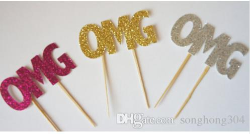 custom 30pcs Gold glitter OMG cupcake toppers Bachelorette Hem night Party Supplies wedding birthday baby shower party Decoration Event