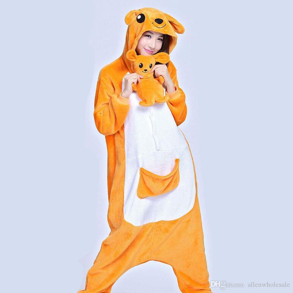 Unisex Anime Onesie yetişkin Fanila Hoodie Kostüm Cosplay hayvan pijama sıcak pijama Kanguru bebekler S-XL ile