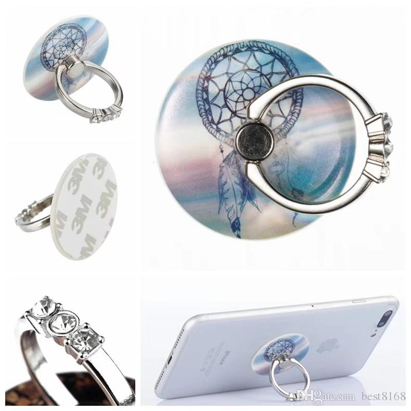 360 Grados Anillo de Dedo Bling Diamond Soporte de Teléfono Móvil Soporte para iPhone X 8 7 6S Nota 8 Tablet Skull Marble Flower Rhinestone Metal anillo