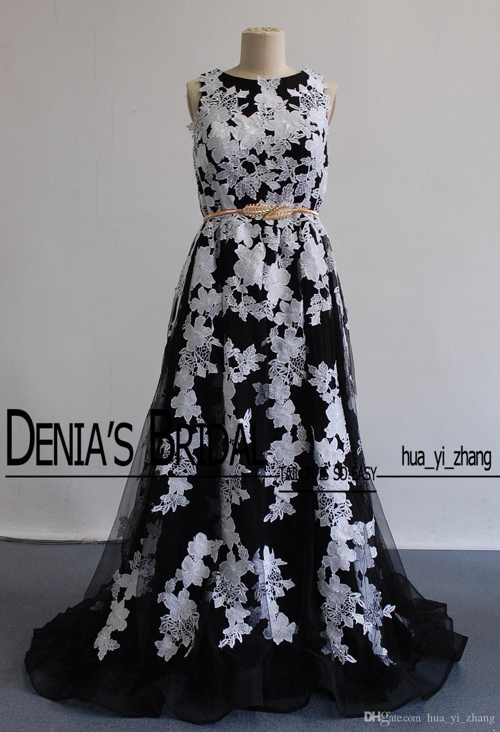 2016 apliques de renda vestidos de noite preto e branco jóia imagens reais sem mangas elegante com trem da varredura com cinto vestidos de baile