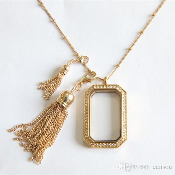 2016 moda aleación Tassel Dangle se viste al instante Heritage Locket flotante para el día de la madre plata oro rosa colgante de oro /