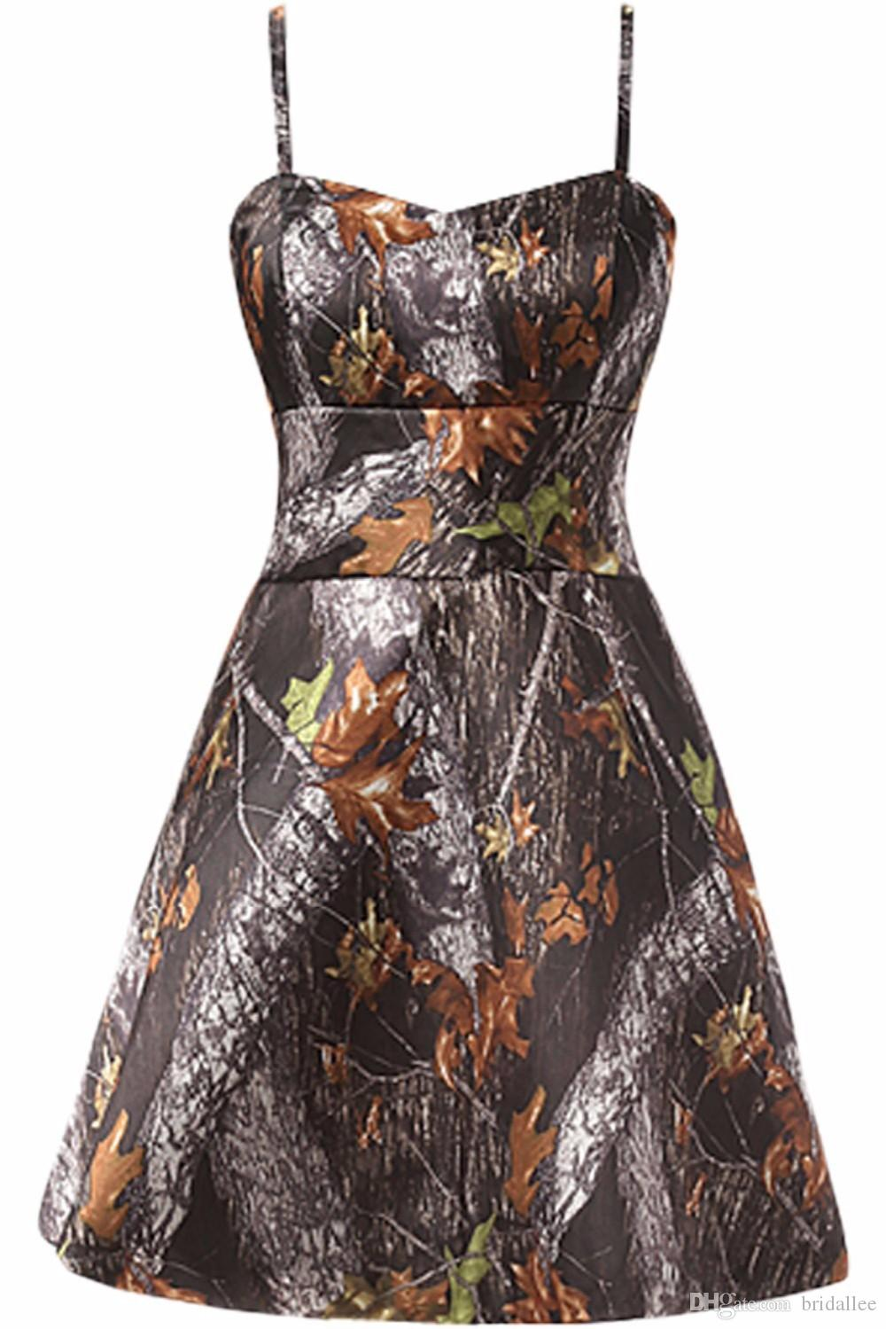 Straps Short Camo Prom Dresses 2016 New Styl Custom Make Size 0 or Plus Sizes Evening Bridesmaid Gowns