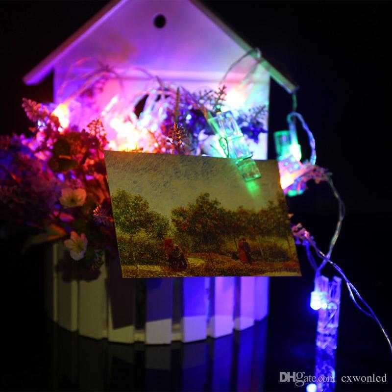 2M 20LEDs зажим свет шнура СИД с AAA батарея Box работает Flash / Steady On / Off Рождественских огней для отдыха Свадебных украшений партии