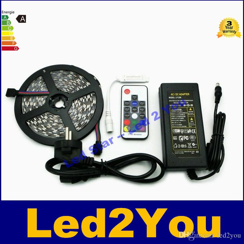 Dc12v 5050 Rgb Led Strips Set 5m 300 Leds Fleixble Strip Light Warm/Cold  White + Rf Controller + 6a Power Adapter Cutting Led Strips Auto Led Light  Strips ...