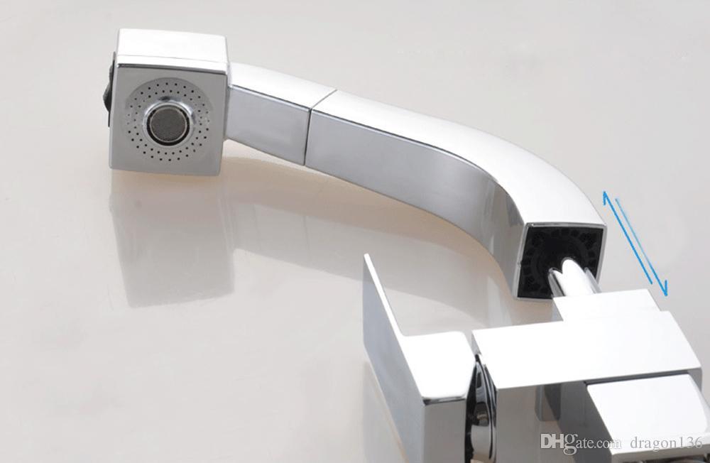BLL Modern Chrome Telescopic Style Lavabo de baño Grifo de latón de una manija Fregadero Grifo Mezclador montado en la cubierta 2010
