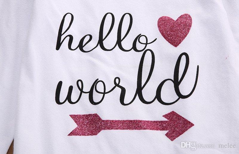 Yenidoğan Bebek Girsl Pamuklu Giysiler Merhaba Dünya Baskı mektubu Romper Tops Bebek çiçek Pantolon kız çiçek Kafa Kıyafetleri 0-18 M