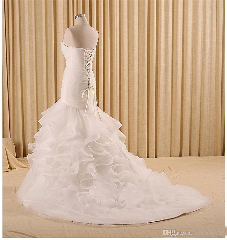 Trumpet Cascading Ruffles with Feather Lace up Long Dress for Bride Plus Size Mermaid Wedding Dresses Organza Bridal Gowns