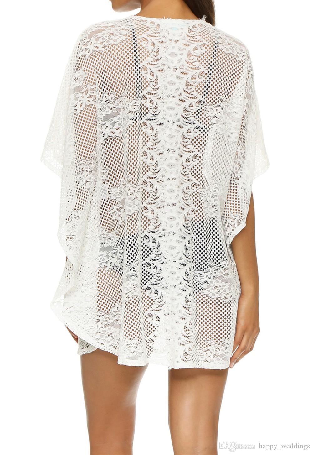 2018 Sexy Cover-Up Lace Beach Dress Kaftan Beach Sarongs Bikini Swimwear Tunica Costume da bagno Costume da bagno Cover Ups Pareo