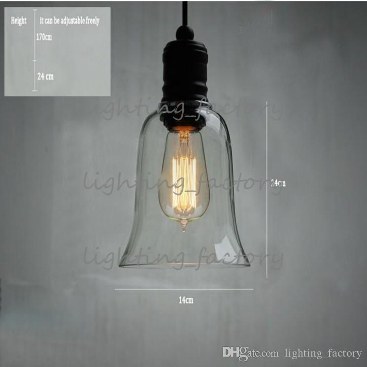 Colgante de luz de la lámpara colgante de cristal de la vendimia colgante con E27 Edison bombilla garantizada 100% Retro Industrial DIY lámpara de techo