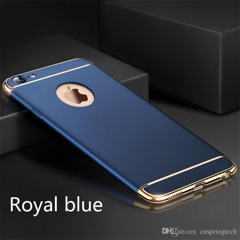 6 cores ultra fino de proteção integral galvanizado 3 em 1 caso rígido pc telefone celular tampa traseira para o iphone 8 samsung s8 s8 além de frete grátis dhl