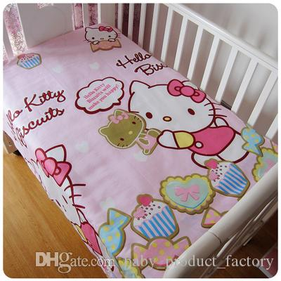 Promotion! Hello Kitty Bedding Set Handmade Baby Girl And Boy Crib Bedding Sets Baby Crib Set bumpers+sheet+pillow cover