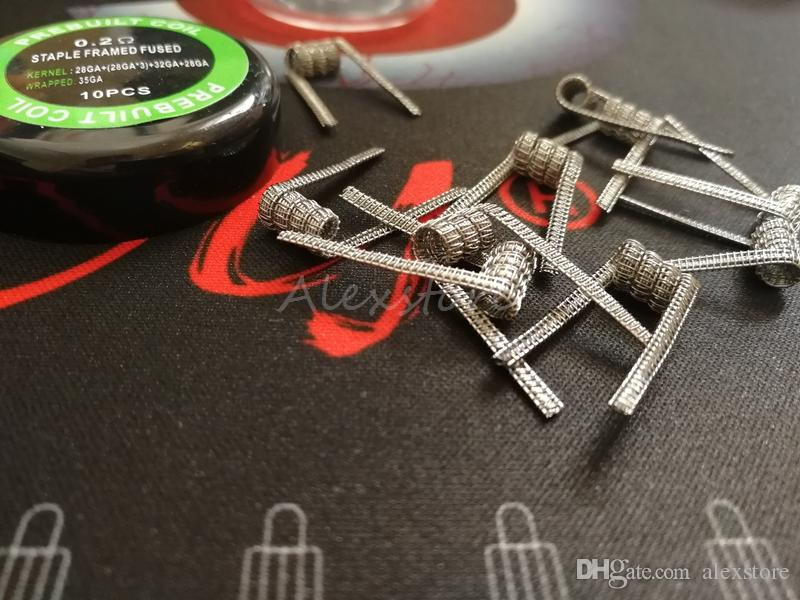 Staple Framed Twisted Fused Coil Staple Staggered Fused Flat prebuilt wire premade wrap wires 0.15ohm 0.2ohm 4types /box vape