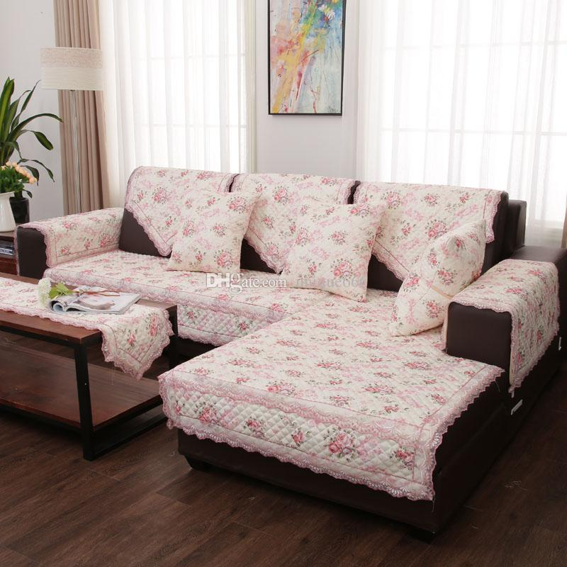 Unique Elegant Red Flower Sofa Pillow Couch Cushion Cover Slipcovers Furniture  Protector Cotton European American Style Slip Covers For Sofas Wing Chair  ...