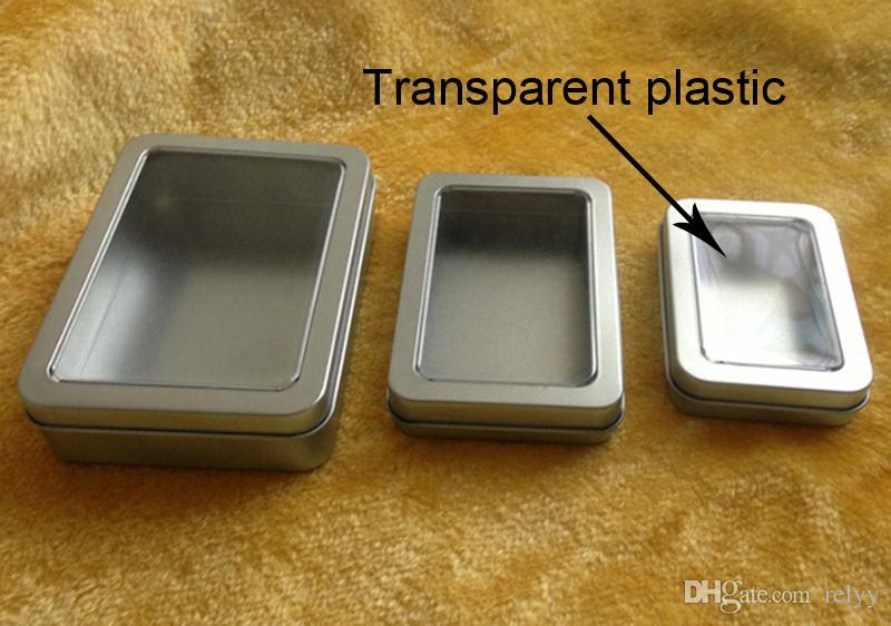 10 PZ Scatola rettangolare di metallo con imballaggio in metallo con finestra piena Scatola trasparente di regalo 90x60x18MM con rettangolo da 3,54x2,36x0,71 pollici