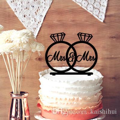 Mrs Mrs Wedding Cake Topper Engagement Rings Cake Topper