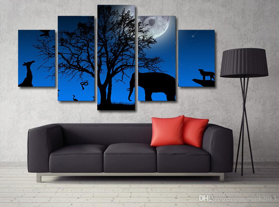 HD Printed Africa Elephant Moon Painting Canvas Print room decor print poster picture canvas