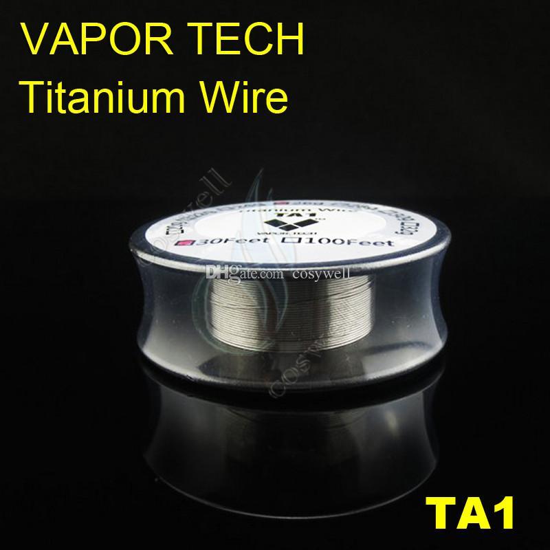 Top VAPOR TECH TA1 Titanium Wire Vaporizer Temperature Control mods 26 28 30 gauge AWG 30 Feet VaporTech Titanium Heating e cigs Resistance