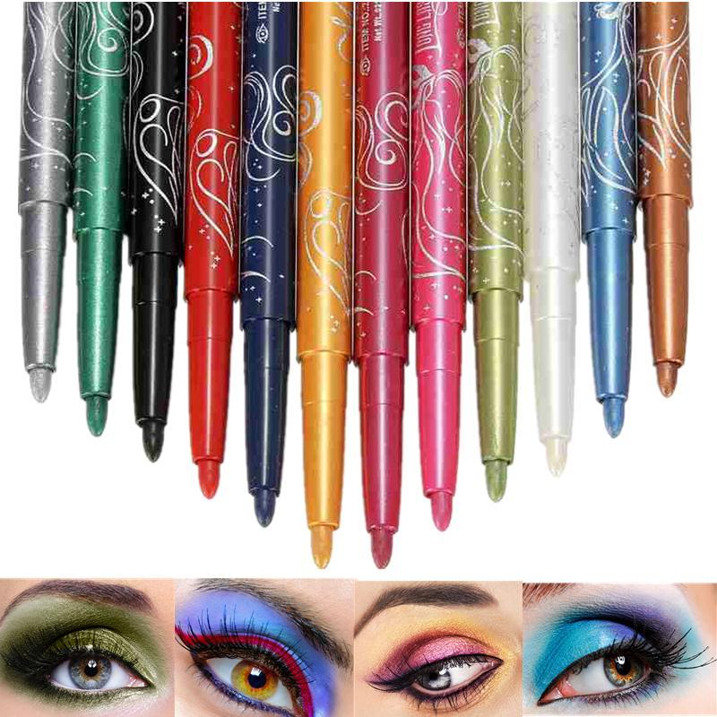 Professional 12 Colors Eyeliner Shimmer Eyeshadow Glitter Lip Pencil Pen Cosmetic Makeup Set