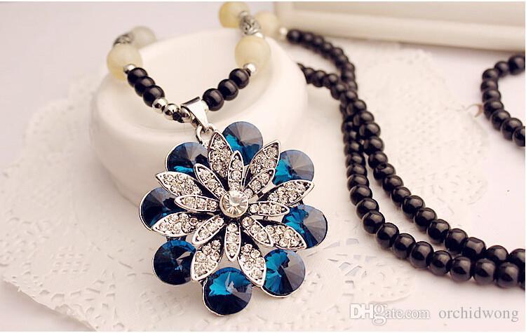 الأزياء والمجوهرات الجودة العقيق كريستال البلوز سلسلة الخرز سلسلة قلادة لافتة للنظر قلادة متوافق مع مجوهرات باندورا