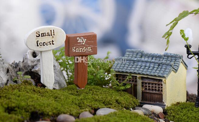 Nouveau Arriver Résine Crafts Sign Conseil panneau Miniatures Miniatures Jardin Gnome Moss Moss Terrarium Décor Bonsaï Figurines Micro Paysage
