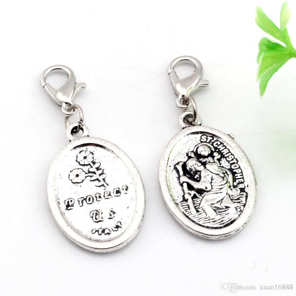 Caldo ! argento antico lega ST Christopher Charms aragosta fibbia pendenti 16.5X 40mm gioielli fai da te gioielli
