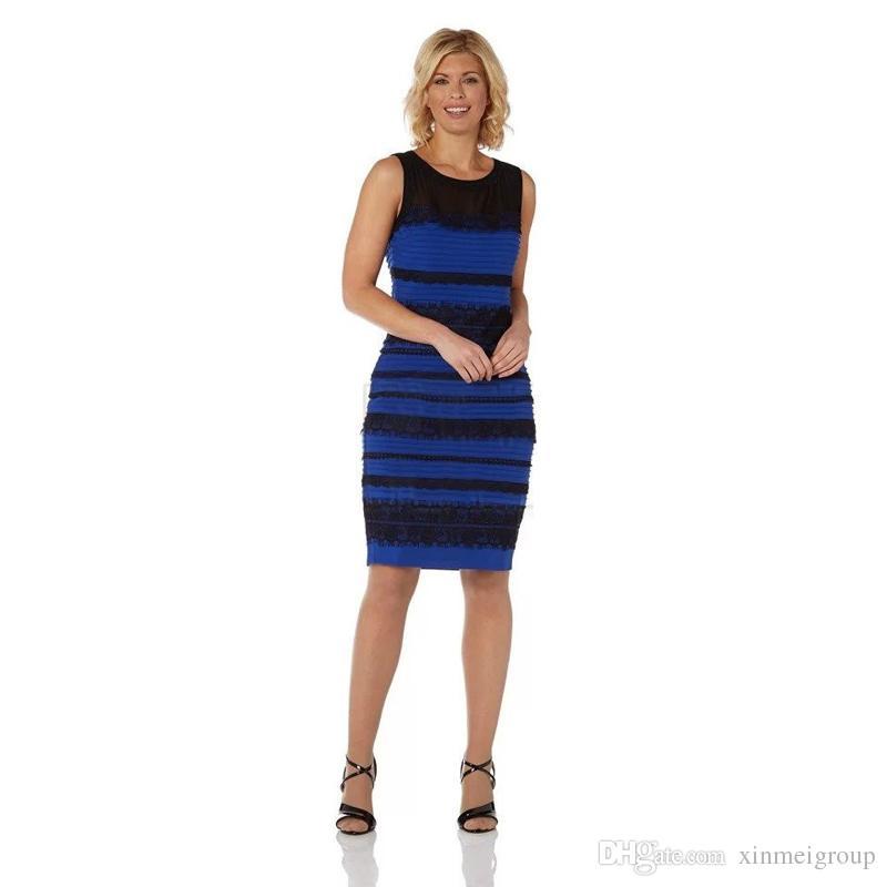 97200dad9cc Acheter Femmes Élégant Bleu Noir Rayé Robes Dentelle Patchwork Maille Sans  Manches Genou Longueur Bureau Dame Robe Plus La Taille Robe W85008 De   17.41 Du ...