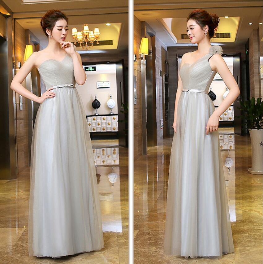 Neue Mode Tüll One-Shoulder Lace Up Brautjungfernkleider Rüsche A-Line Lange Kleider Billig