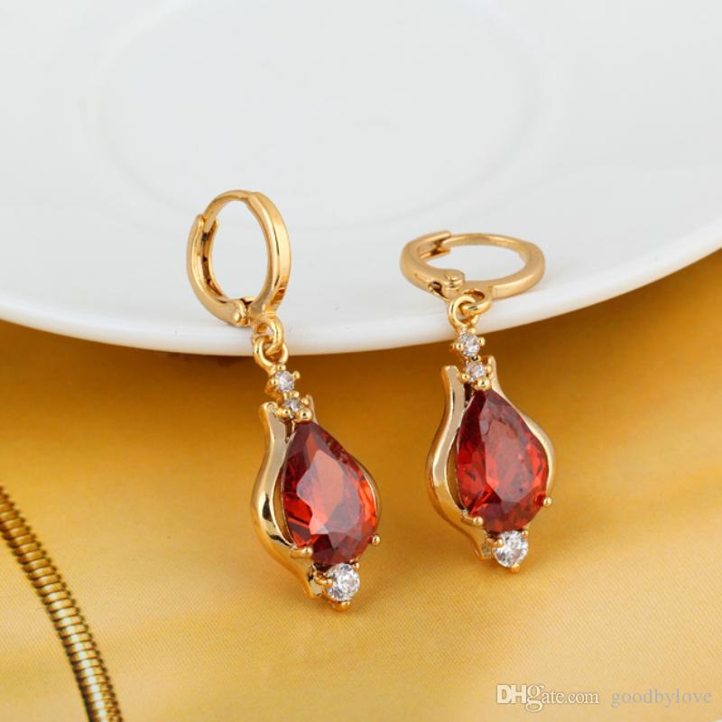 Aulic Red Ruby Stone 18K Yellow Gold Plated Teardrop New Hoop Earrings Fashion Jewelry for Women