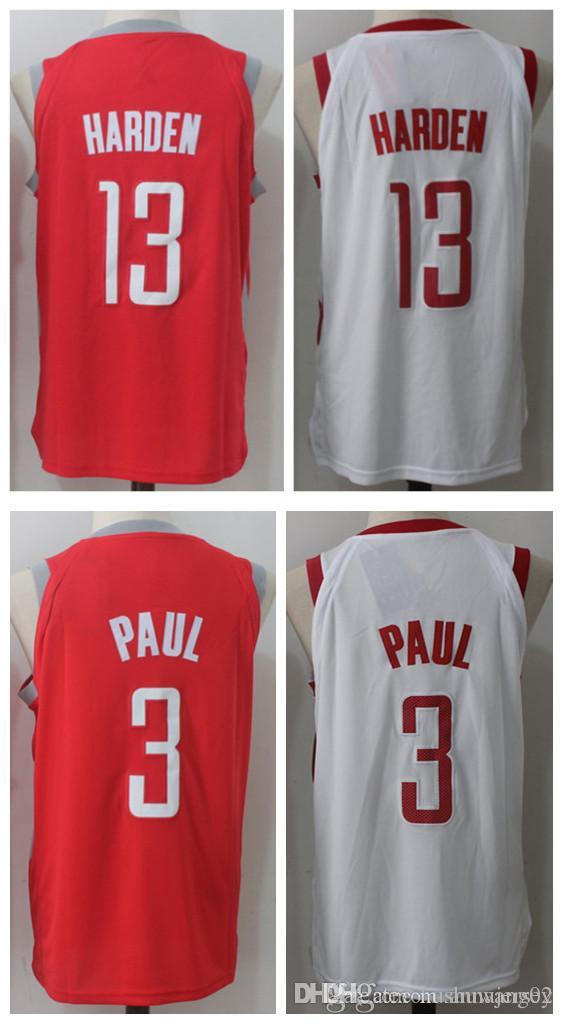 fd79e51dfaff ... 2017 1718 New MenS Houston 13 James Harden 3 Chris Paul Home Red White Jersey  Rockets ...