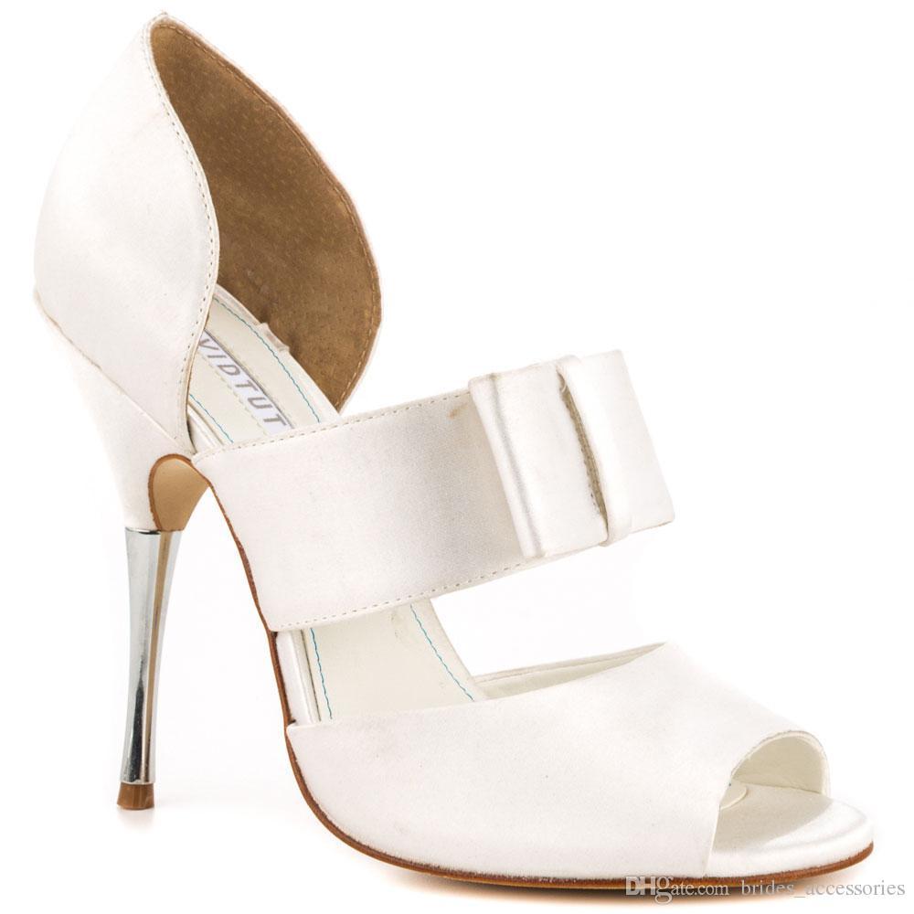 e4d58d558595 White Satin Wedding Shoes Open Toe Stiletto Heel Pump Women Sandals Slip  Ons Platform Rhinestone Heel Evening Party Dancing Shoe Wedding Shoes Heels  Wedding ...