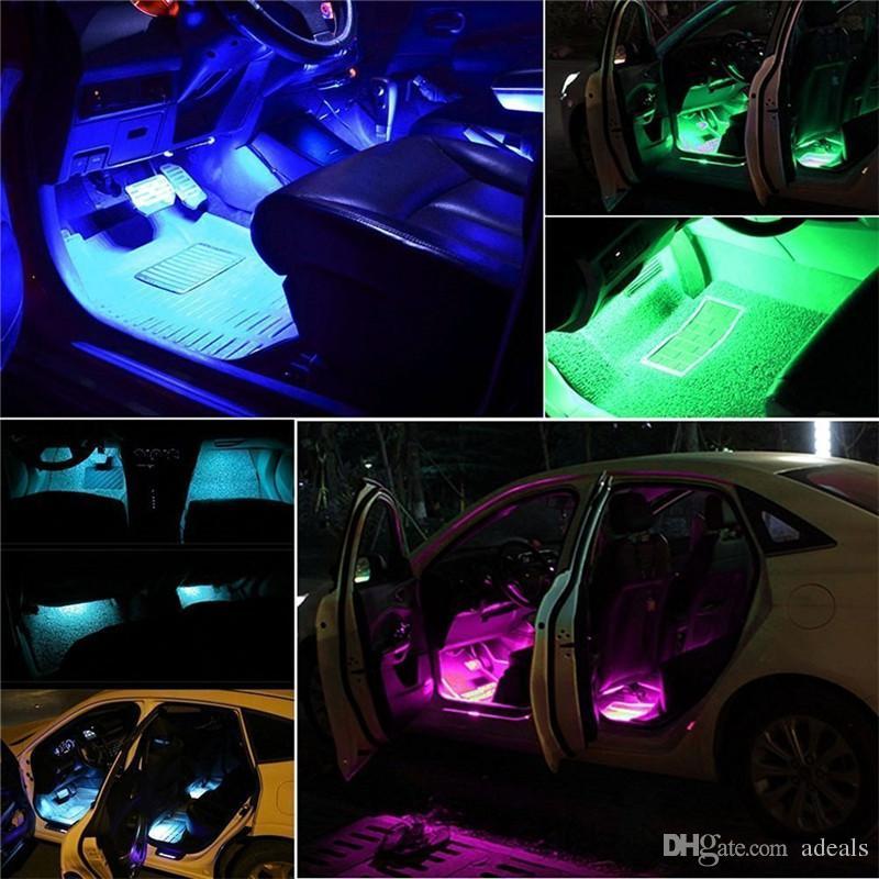 4 в 1 автомобиль внутри атмосферы лампы 48 LED украшения интерьера освещения RGB 16-цвет LED беспроводной пульт дистанционного управления 5050 чип 12 В Charming