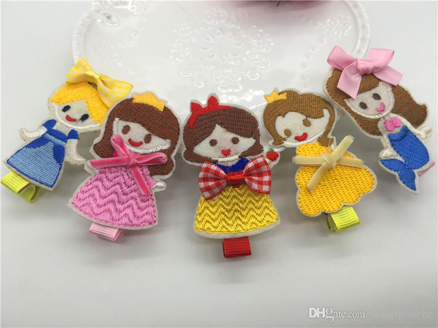 Boutique Fashion Cute Embroidery Fairy Tale Princess Girls Hairpins Solid Cartoon Hairpins Princess Hair Accessories