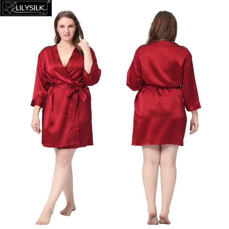 eafe328718 2019 Wholesale Lilysilk 100% Pure Silk Robe Women Plus Size 22 Momme Short  Classic Style Bathrobe Luxurious Satin Bridesmaid 5XL Oversized From  Jinzhong