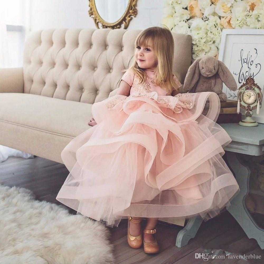 cute baby girl pink champagne lace flower girl dress with short