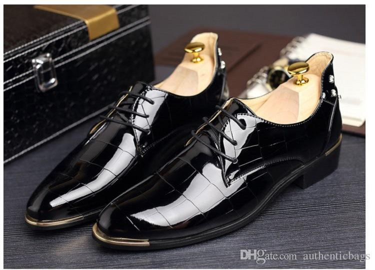 Brand 2018 New Simple Style Men Dress Shoes Lace Up High Quality