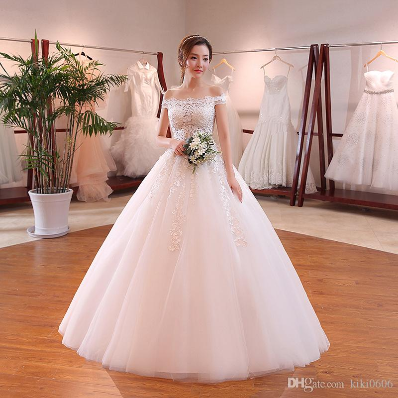 Cheap Plus Size Wedding Gowns Under 100: 2018 New Bridal Wedding Gowns Floor Length Lace Up Off