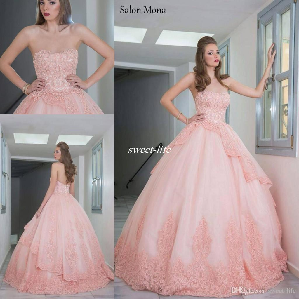 1f5dc088f2 Salon Mona 2016 Blush Pink Ball Gown Wedding Dresses Strapless Pearls  Applique Lace Custom Made Sexy Bridal Gowns For Spring Outdoor Wedding  Alternative ...