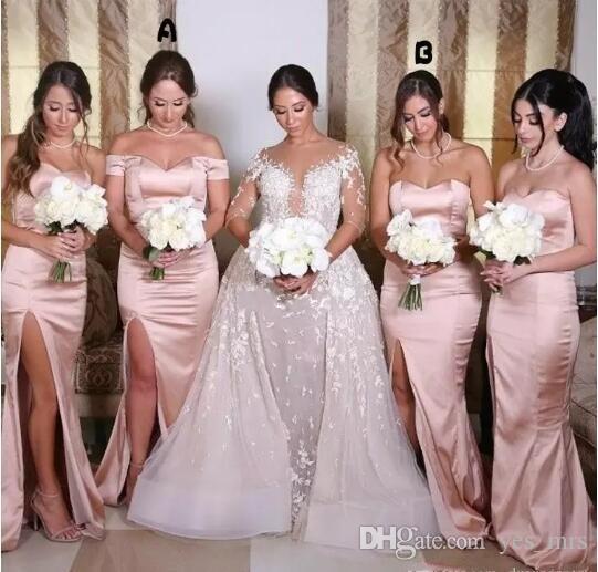 3075056988 2017 Blush Pink Mermaid Bridesmaid Dresses Off Shoulder Sweetheart  Sleeveless Side Split Satin Plus Size Maid Of Honor Wedding Guest Dress