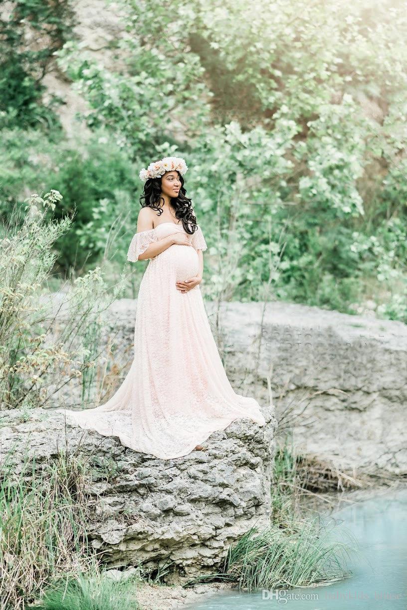 Maxi Umstandskleid für Fotoshooting Mutterschaftsfotografie Requisiten Schwangerschaftskleidung für schwangere Frauen langes weißes Spitzenkleid