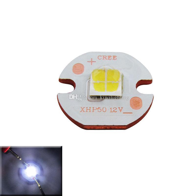 Cree XHP50 Beyaz 6000-6500 k / Sıcak Beyaz 3000 k 12 V / 6 V Led Çip Işık 16mm PCB Bakır Kurulu 100 adet / grup