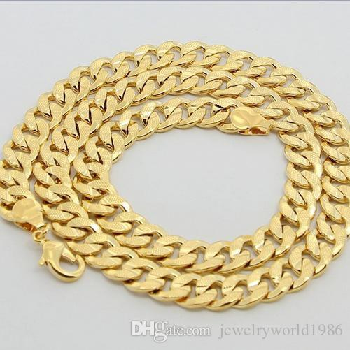 Fast Fine 20inches 20g 24K Solid Yellow Gold Filled/Plated Mens Link Necklace Chain never fade